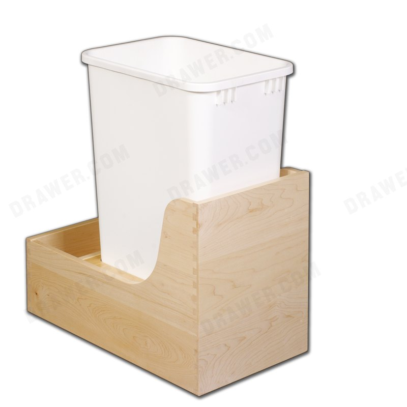Hard Maple Undermount Recycle Drawer 50qt Bin Fits 12