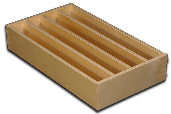 Drawer with equally spaced dividers
